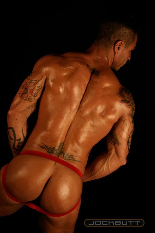 Horny latin muscle man posing naked